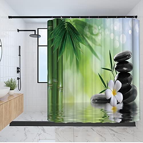 Bad Gardinen Duschvorhange 180x180cm Dekoration Wasser Grün Bambus Buddha Mit 12 Haken wasserdichte Mehltau Waschbar Duschvorhange