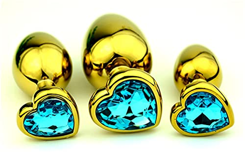 3 Stück Goldene Herzform Edelstahl Metallkunst Ḁdûlt Ṫọys plattiert 3D Acryl Diamant Schmuck Ânâl Plụģ
