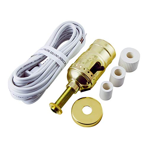 GE Bottle Lamp Kit, Extra Long 8 Ft White Power Cord, DIY Lamp Wiring Parts, 250VAC, 250W, UL Listed, 50961