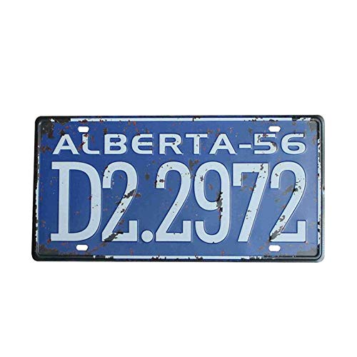 PotteLove Alberta-56 D2.2972 Country Car License Plate Vintage Metal Signs Tin Plaque Wall Poster for Garage Man Cave Cafe Bar Pub Beer Patio Home Decor