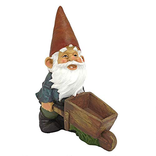 Design Toscano Wheelbarrow Willie Garden Gnome Statue Bird Feeder, 12 inch, Polyresin, Full Color