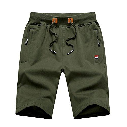 MO GOOD Mens Class-fit Casual Shorts Joggers Running Flat Shorts Elastic Waist (Army, US (36-37))