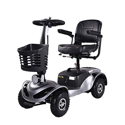 Elektrische scooter met 4 wielen, groot bereik, elektrische step voor volwassenen, compacte zitscooter, led-koplamp.