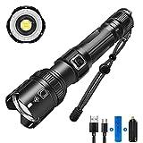 Linterna LED Recargable Alta Potencia XHP50, Linternas Táctica de Alto Lúmenes, Linternas Led Recargables con Tipo C,...