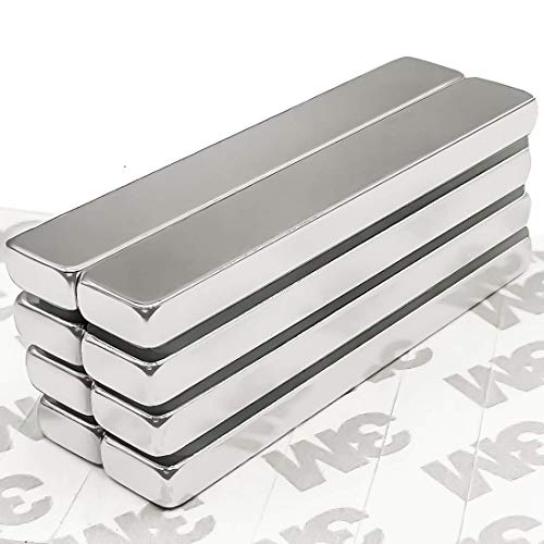 [Upgraded] 8 Pack Strong Neodymium Bar Magnets with Double-Sided Adhesive, Rare Earth Metal Neodymium Magnet - 60 x 10 x 5 mm