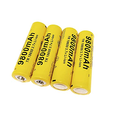 Rechargeable Battery 3.7V Cell, 4 Pack Button Top Battery for 18650 Flashlight Headlamp