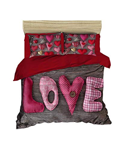 3D Love Bettbezug Set | Double Duvet Cover Set |% 100 Baumwolle | 200x220 Double | 4er Set Bettwäscheset mit Bettbezug, Laken und Kissenbezug | 4 in 1 with Duvet Cover, Sheet and Pillow Covers