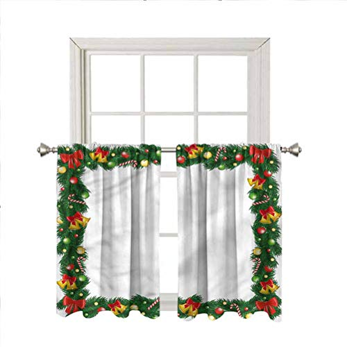 LCGGDB New Year Rod Pocket Blackout Curtain Panels,Garland with Ornaments Home Decor Window Treatments Draperies for Bedroom/Nursery/Kitchen/Living Room,42 x 54 Inch, 2 Panels