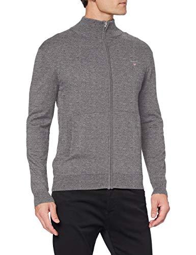 GANT Herren Cotton Wool Zip Cardigan Pullover, Dark Grey Melange, L