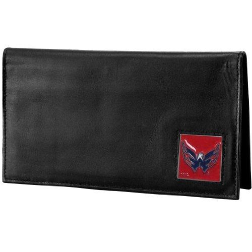 Capa de couro para talão de cheques NHL Siskiyou Sports Fan Shop Washington Capitals Deluxe, tamanho único, preta