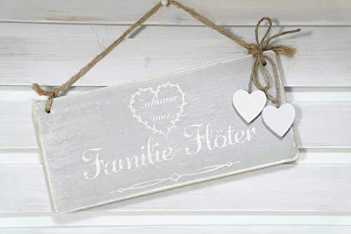 """Türschild aus Holz mit dem Name der Familie - Haustürschild im Vintage Stil""""Willkommen bei Familie"""""""