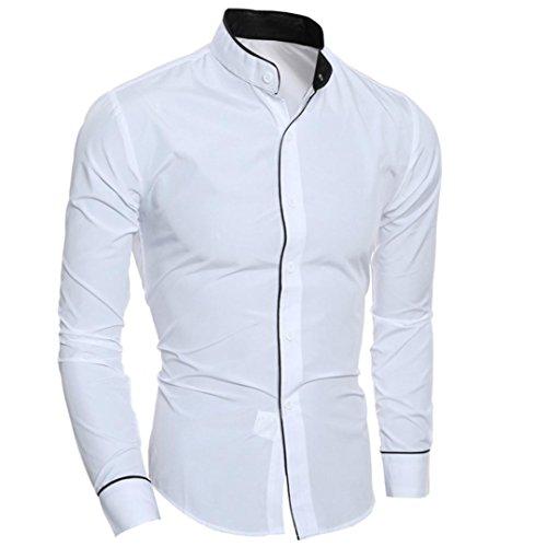 Tefamore Chemise Mode Personnalité Hommes Casual Slim Chemise à Manches Longues Blouse supérieure (XXL, Blanc)