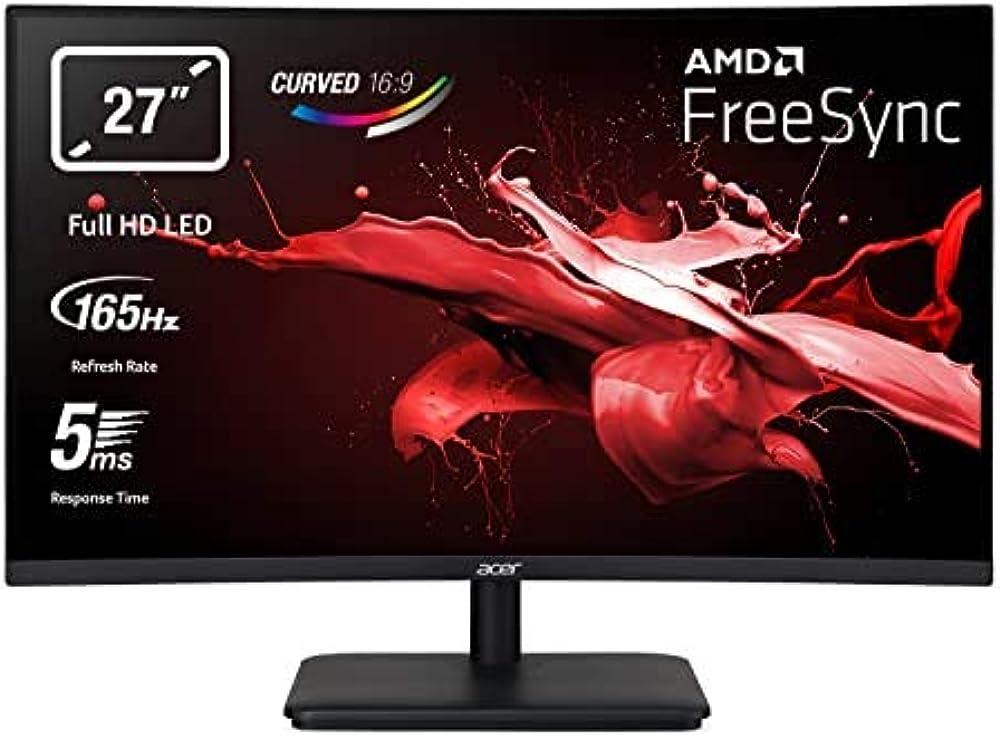 Acer monitor 27 pollici gaming curvo adaptive sync display va full hd 165 hz 5 ms 16:9 hdmi 1.4 ED270UPbiipx