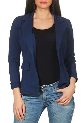 Malito Donna Classico Blazer Basic-Look Jersey Giacca 1654 (Blu Scuro, L)