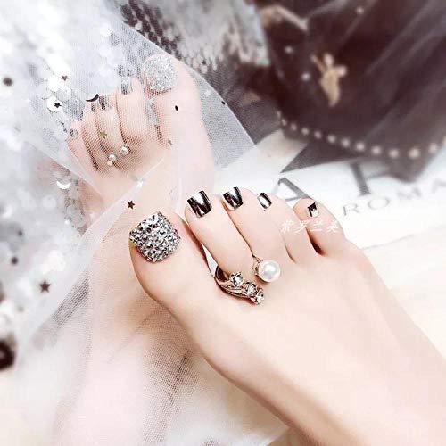 SRTYH Uñas postizas,Manicura de uñas de los pies parche espejo de diamantes completo plata desmonte las uñas en cualquier momento que la novia use productos para uñas