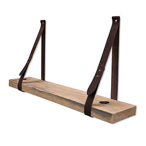 Steigerhoutpassie - Leren plankdrager - Donker Bruin - Verstelbaar - Set - Eiken - Wagondeel Breed - Geschaafd - 90cm