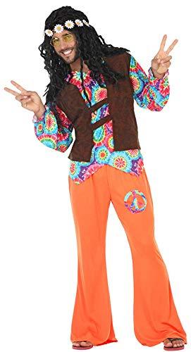 Atosa-56487 Disfraz Hippie, Color Naranja, M-L (56487)