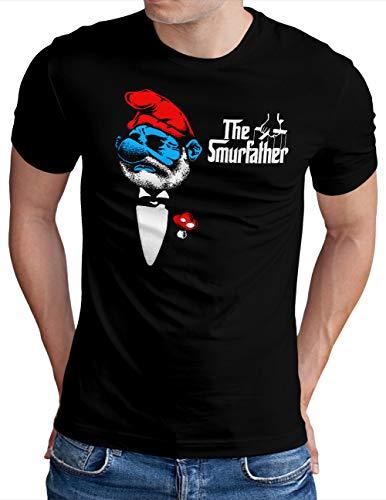 OM3® The-Smurfather T-Shirt | Herren | The Godfather Parody Don Schlumpf | Schwarz, XXL