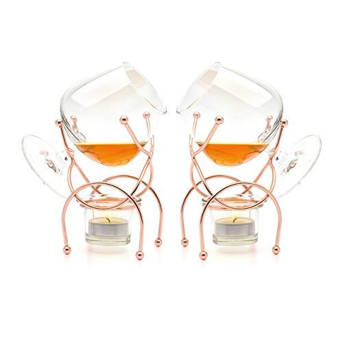 Bar Amigos - Set di 2 bicchieri da brandy e cognac, bicchieri snifter con supporto in rame per scaldare il liquore tramite candeline tealight, di alta qualità