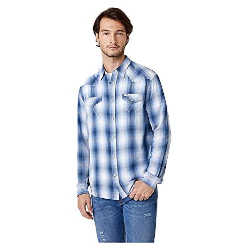 Wrangler Western Shirt Haut, Cerulean Blue, XL Homme