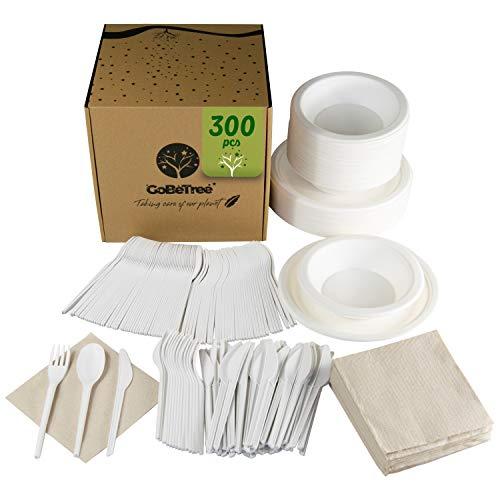 GoBeTree Vajilla desechable de 300 Piezas para 50 Personas. Paquete vajilla Biodegradable...