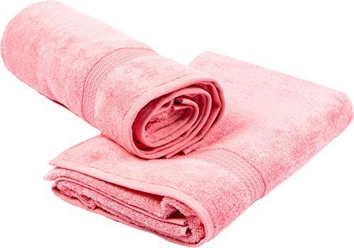 sixgoldendrops Bambus Handtuch 2 Stück Set 70 x 140 cm - flauschig weich saugstark fusselfrei Premium Qualität - Badetuch Duschtuch Set rosa