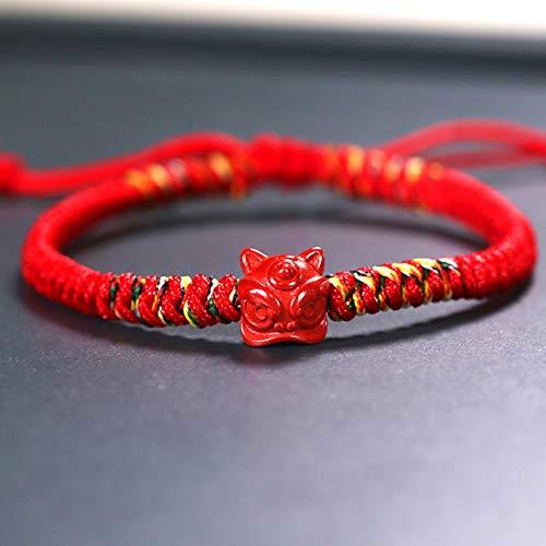 WCOCOW Feng Shui Braccialetto di ricchezza per Le Donne Cinnabar Wake Lion Red Corda Diamond Knot Braccialetto Intrecciato Regolabile per la Fortuna coraggiosa fortunata e ricchezza,Style b