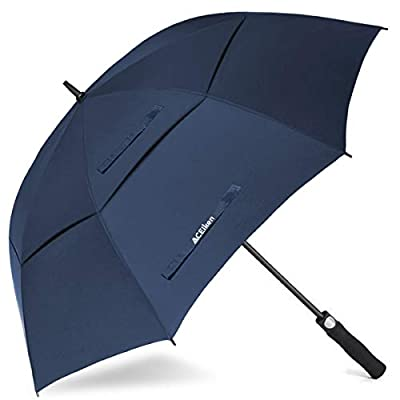 ACEIken Golf Umbrella Windproof Large 62 Inch, Double Canopy Vented, Automatic Open, Extra Large Oversized,Sun Protection Ultra Rain & Wind Resistant Stick Umbrellas (Blue)