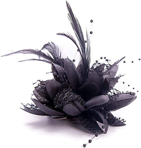 DABER VICH Fashion Hair Accessories Headdress Women Bridal Fascinator Feather Hair Clips for Wedding Banquet Party (Black)