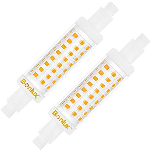 Bonlux LED-Leuchtmittel R7S, 78 mm, 6,5 W, kaltweiß, 6000 K, J78 Slim Dippo-Effekt, entspricht 48 W, 65 W, Halogenlampe, nicht dimmbar, 230 V, 360 Grad, 2 Stück