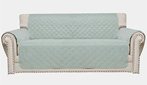 Lawei - Funda de sofá acolchada para ropa de cama, protector de muebles con correas elásticas ajustables antideslizante con tratamiento repelente al agua – verde claro, 54'/ 137cm - 2 Seater