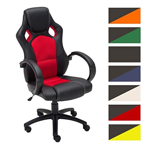 Gaming Bürostuhl FIRE mit Kopstütze und hochwertiger Polsterung | Der höhenverstellbare Drehstuhl verfügt über eine Wippfunktion und Armlehnen | Schreibtischstuhl mit pflegeleichtem Kunstlederbezug | In verschiedenen Farben erhältlich, Farbe:rot