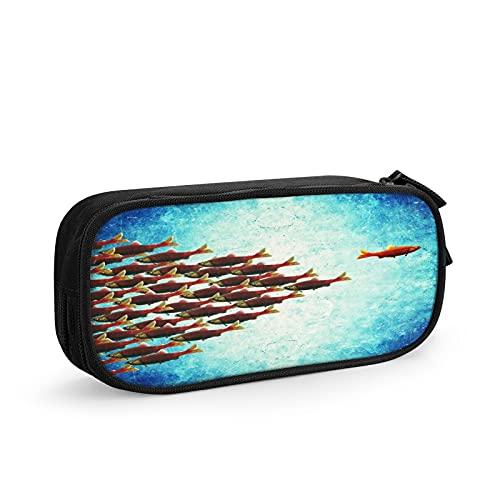 Un pesce che nuota di fronte Astuccio Grande Capacità Astuccio Multifunzione Con 2 Cerniera Scomparti per Ragazzo e Ragazza