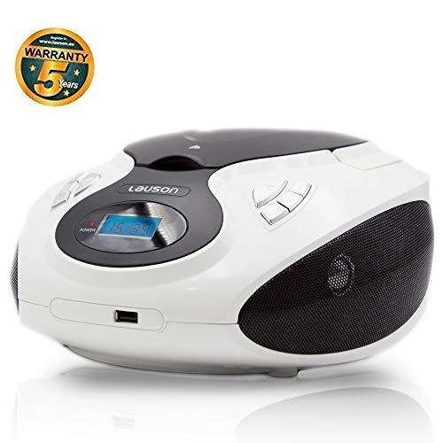 LAUSON MX13 CD-Speler USB | Stereo-Installatie Boombox | Draagbare CD-radio voor Kinderen | CD-Player met Radio FM, MP3 Speler | USB-Koptelefoon Aansluiting | Cd Player voor Kinderen (Wit)
