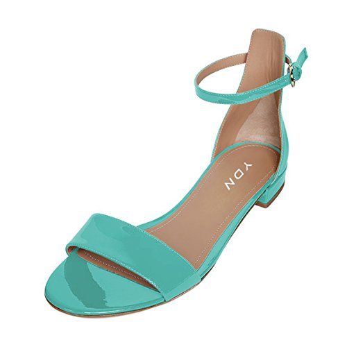 YDN Womens Chic Block Low Heel Sandals With Buckle Solid Ankle Strap...