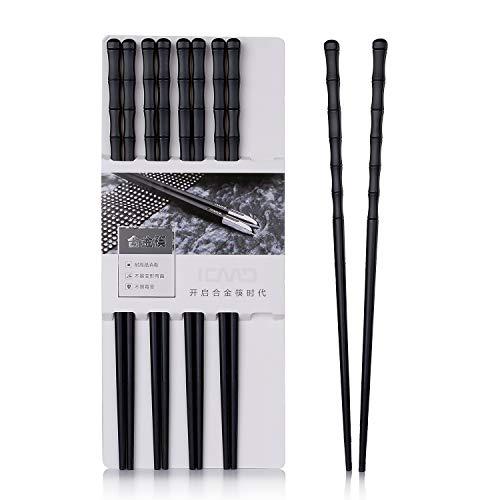 Leaptech Japanische EssstäBchen 5 Paar Alloy Chopsticks Wiederverwendbare EssstäBchen Waschbar FüR GeschirrspüLer 24.3 cm Schwarz Bambus