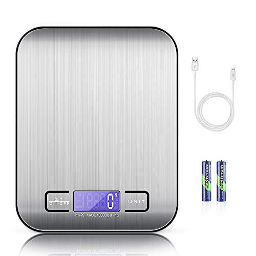 MOSUO Digitale Küchenwaage mit USB-Ladekabel, Digitalwaage Küche 10kg/1g Professionelle Electronische Waage aus Edelstahl, Briefwaage mit 6 Wiegeeinheiten, Tara-Funktion, LCD-Display, Inkl Batterie