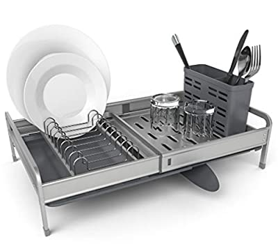 Shanik Rust Proof Expandable Draining Rack With Small Dish Drainer, Silverware And Utensil Storage Holder, Cutlery Tray, Sponge Rack And Adjustable Dish Drainer Arms From 12 to 19 Inches. by