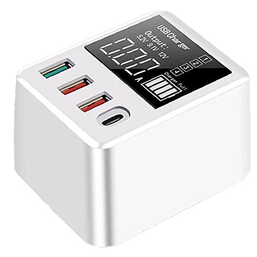 Tuimiyisou 40W QC3.0 Fast 4 Puertos USB Pantalla LED Cargador Móvil Recorrido de la Pared Cargador de
