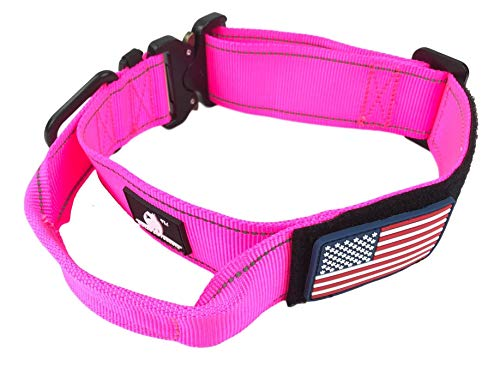Dog Collar Tactical Working K9 Or Pet - 1.75' Inch Wide Nylon Heavy Duty Dog Collars for Large Dogs Quick Release Metal Buckle USA Flag Patch - Control Handle for Handling Training Dogs (MED, Pink)