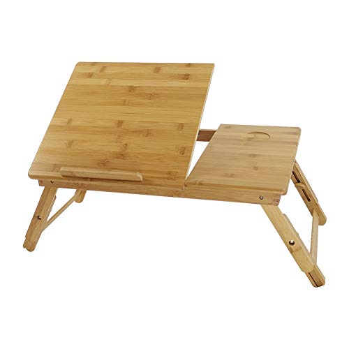 KKTONER Bamboo Laptop Tray Lap Desk Table with Height Adjustable Foldable Legs Portable Laptop Tray Breakfast Snack Serving Tray Bed Table Drawing Table (FLAT)
