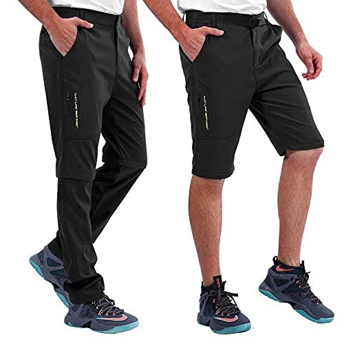 Amissz Pantaloni Trekking Uomo Primavera Estate Outdoor Pantalone da Lavoro, Traspirante Funzionali Arrampicata Softshell Pantaloni Escursionismo Caldo Allaperto