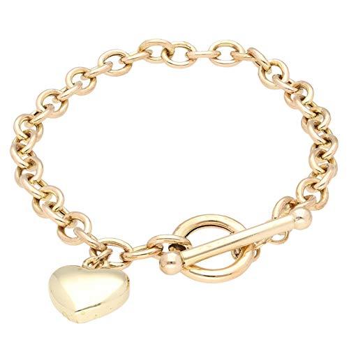 Jollys Jewellers Pulsera Belcher de oro amarillo de 9 quilates con barra en T y dije de corazón (6 mm de ancho y 3 x 11 mm) para mujer