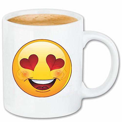 Reifen-Markt Kaffeetasse Verliebter Smiley MIT Herzen Smileys Smilies Android iPhone Emoticons IOS GRINSE Gesicht Emoticon APP Keramik 330 ml in Weiß