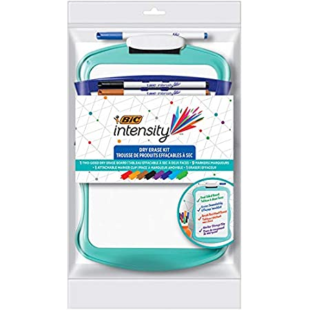 BIC Intensity Dry Erase Kit With 9 Dry Erase Markers and 1 Dual-Sided Dry Erase Board, Bullet Tip (2.8mm), Assorted, 12 Count