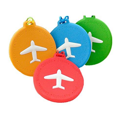 Etiquetas de equipaje de avión lindo de 3 paquetes Etiquetas de nombre de identificador de PVC para maleta de bolsa, color aleatorio