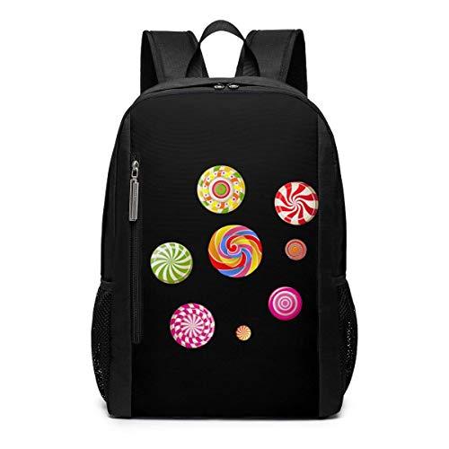 Schultasche,Lollipop Candy Cane Zuckerwatte Candy Corn Rucksack, Beeindruckende Adult Bookbags Für Schulcamping,30cm(W) x46cm(H)