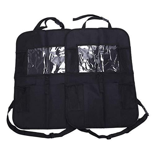 Car Back Seat Storage Organiser x2-10' iPad/Tablet Holder Touch Screen Kids Kick Mat Seat Protector Multi-Pocket Children?s Travel Storage - Black