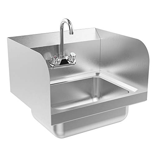 "Bonnlo Commercial Stainless Steel Perp/Bar Sink Hand Wash Sink - Wall Mount Hand Washing Basin Commercial Kitchen Heavy Duty with Faucet 17"" L x 15"" W x 14"" H (With SideSplash)"