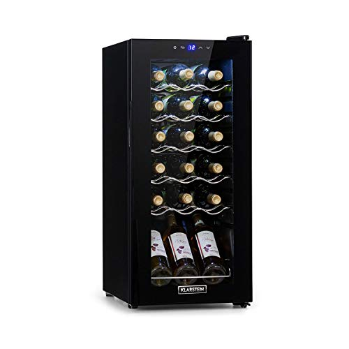 Klarstein Shiraz Slim Uno - Nevera para vinos, Eficiencia energética Ge Clase G, 5-18 °C, 42 dB, Panel táctil, Iluminación LED, Altura regulable, 5 baldas, 50 litros, Para 18 botellas de vino, Negro